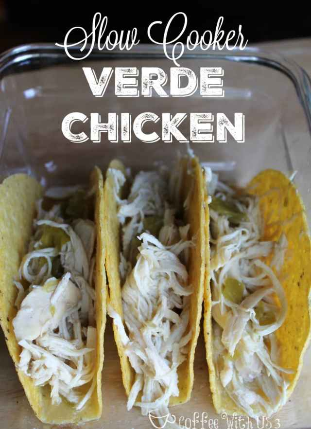 Slow Cooker Verde Chicken- Under 10 minutes and 4 ingredients to have dinner in the crockpot and 2 more freezer meals!