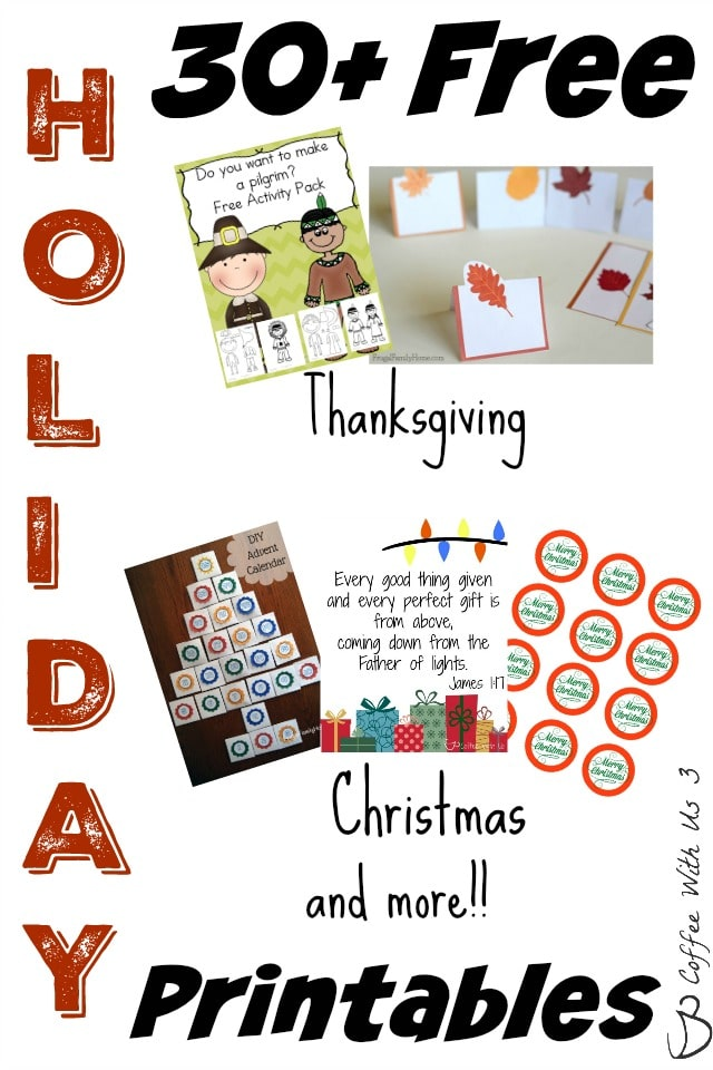 Over 30 Free Holiday Printables for Thanksgiving, Christmas, & more. Get your printable activities sheets, gift tags, decorative printables & much more!!