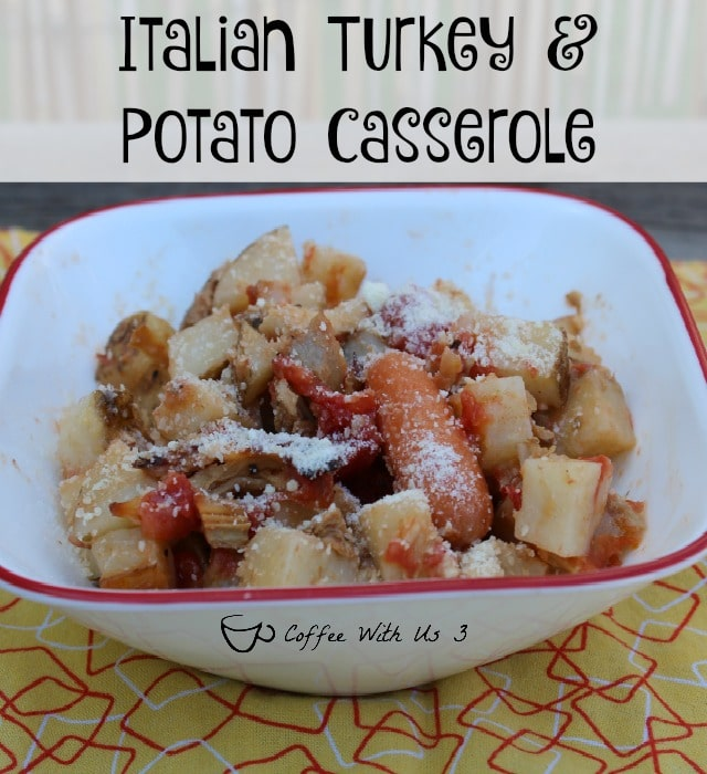 Italian Turkey Potato Casserole - Italian Dressing, Potato, Tomatoes, & More combined for a delicious and easy casserole using leftover Thanksgiving Turkey.