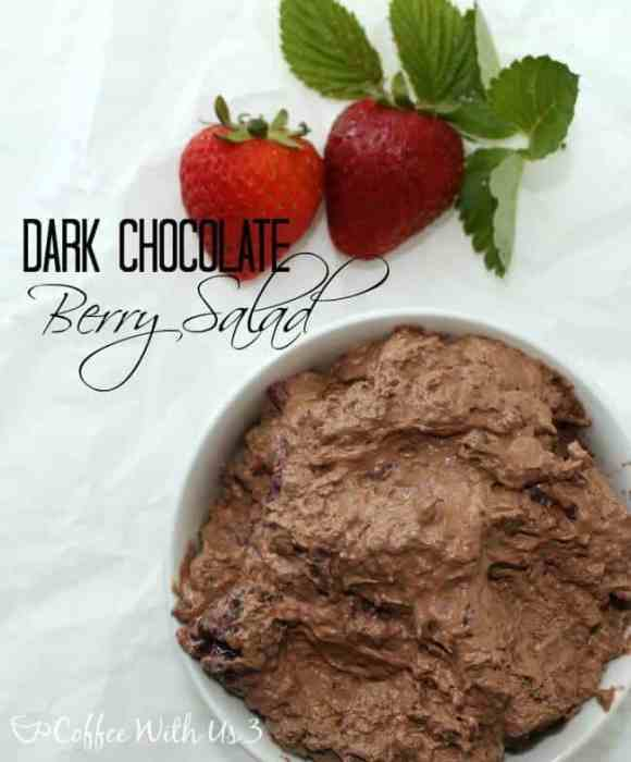 Dark Chocolate Berry Salad- Delightfully fluffy and sweet. Perfect for BBQs and picnics! www.coffeewithus3.com