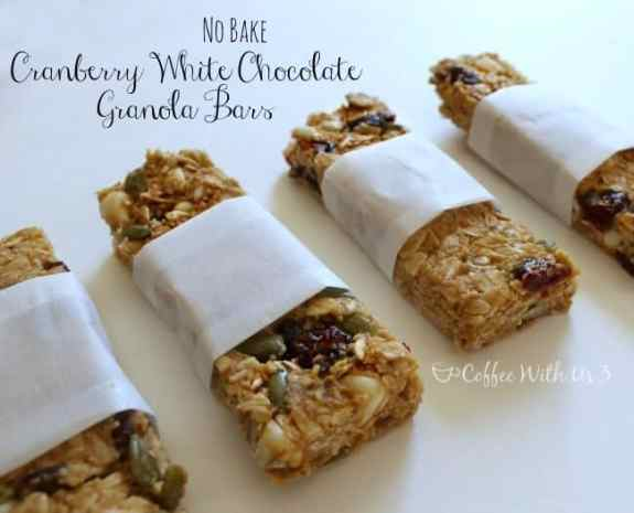 No Bake Cranberry White Chocolate Granola Bars