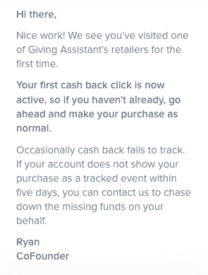 Start saving money with Giving Assistant!  Earn cash back for all the purchases you're already making online!