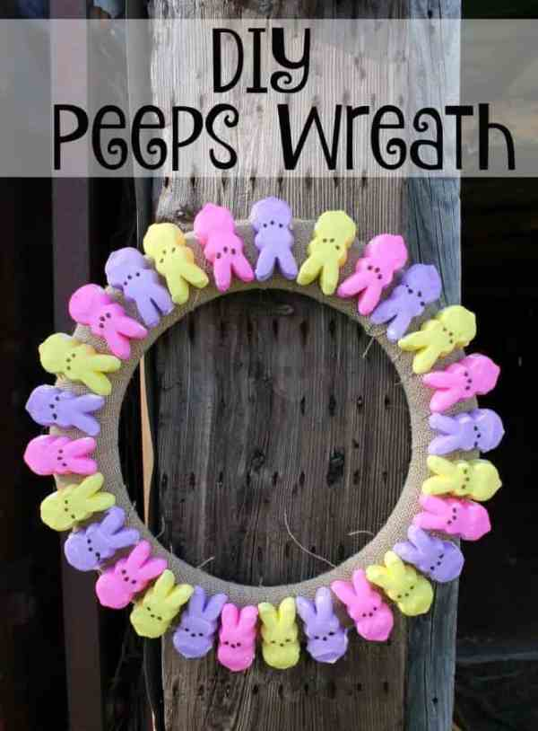 DIY Peeps Wreath | A cute and easy Peeps Wreath will dress your home up for Easter easily!