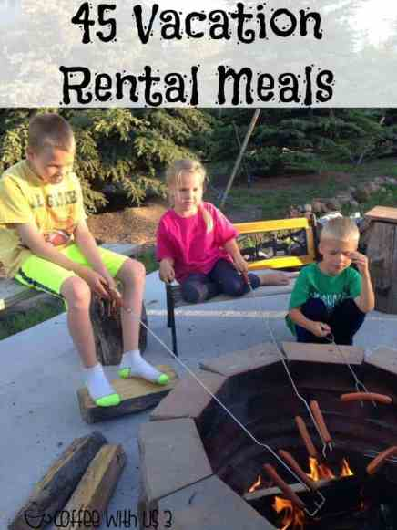 45 Vacation Rental Meals   Are you planning on cooking your own meals on your vacation but don't want to spend all day in the kitchen? Check out these easy or crockpot meals that will save you money & time in the kitchen. Save the pin and all the amazing recipes for your next vacation planning.