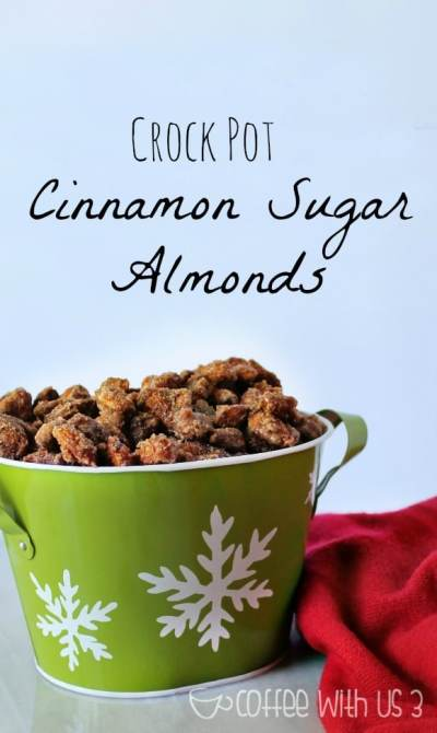 These delicious Crock Pot Cinnamon Sugar Almonds make a great Christmas gift for you friends and coworkers! Made easily in your slow cooker!
