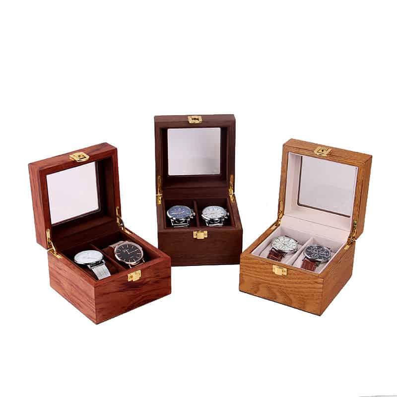 coffret de rangement vintage en bois pour 2 montres