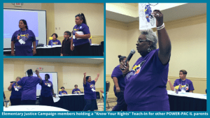 "Elementary Justice Campaign members holding a ""Know Your Rights"" Teach-In for other POWER-PAC IL parents"