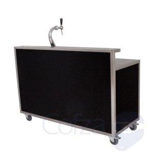 Mobiele bar met opstaande rand en zwarte panelen