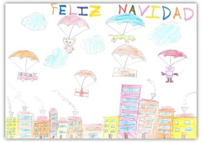 """3º Premio. """"Una Navidad Voladora"""" Sandra Rincón Rodríguez. 8 años"""
