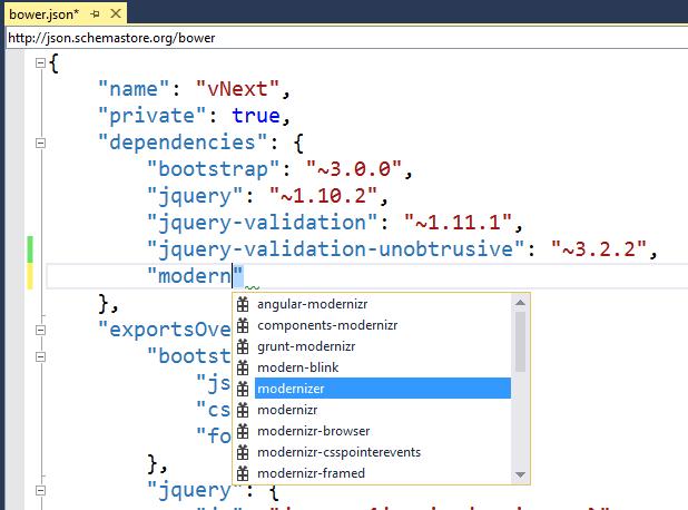 Bower intellisense in Visual Studio 2015