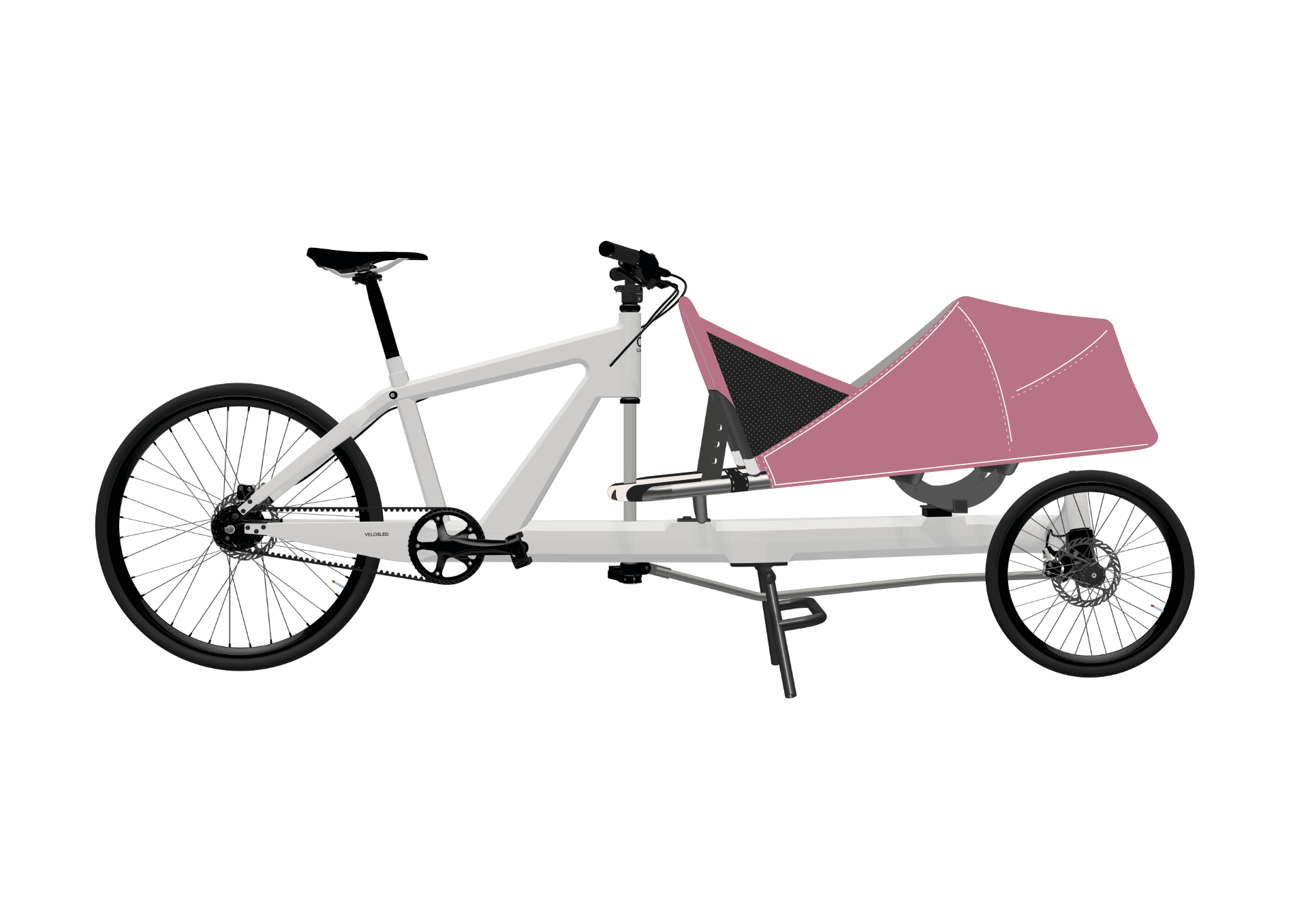 VeloSled Family with canopy PINK