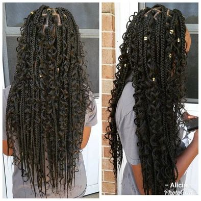 tailbone length bohemian box braids on natural hair