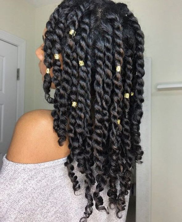 Chunky two strand twists on 3b hair