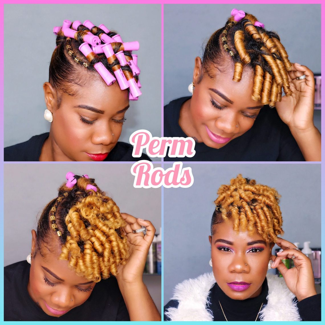 perm rods on short natural hair