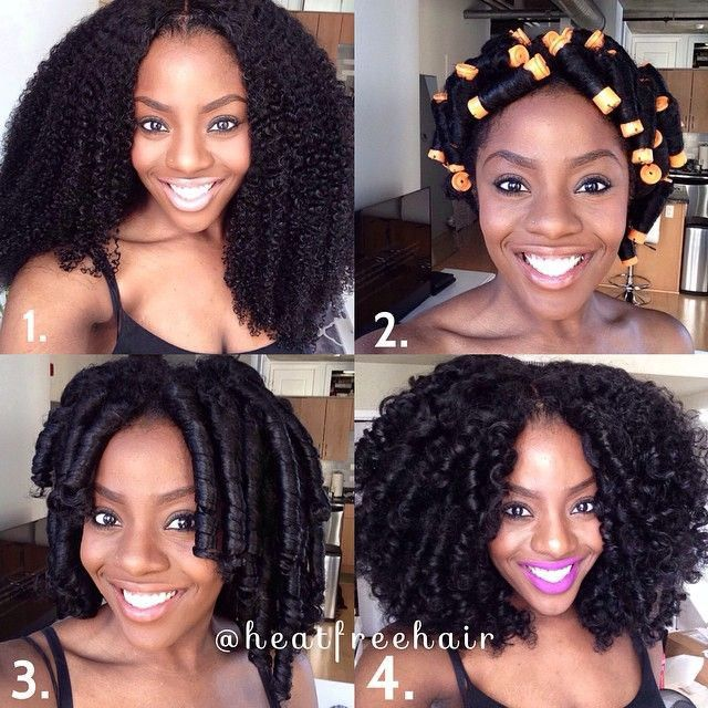 large perm rods on natural hair clip-ins
