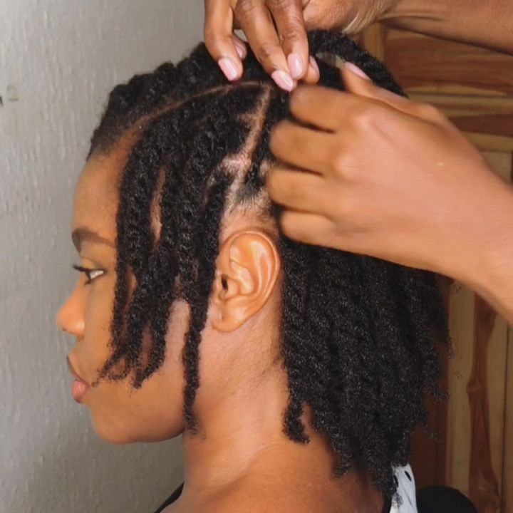 two-strand twists on short natural hair 4c
