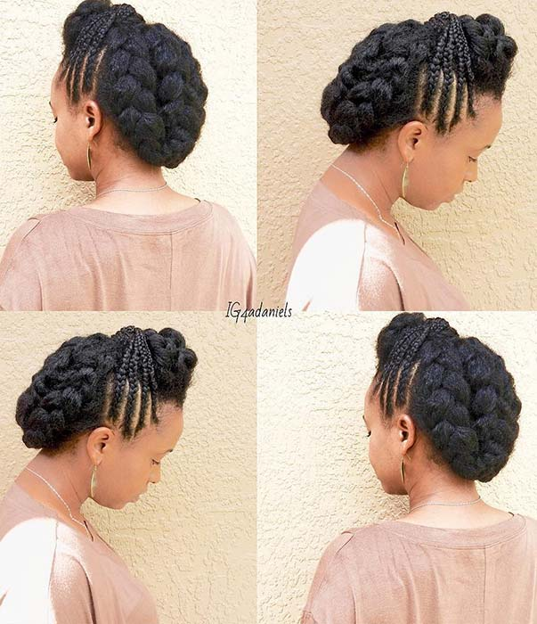 updo hairstyles with cornrows