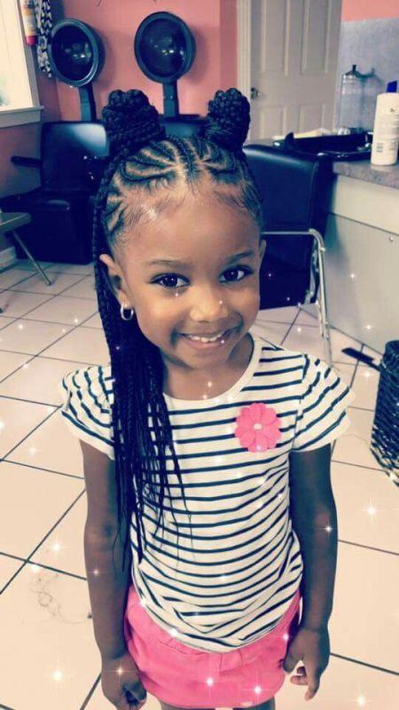 little black girl braids half up half down