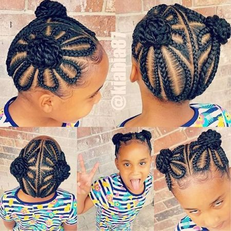 easy braids for little black girl with weave