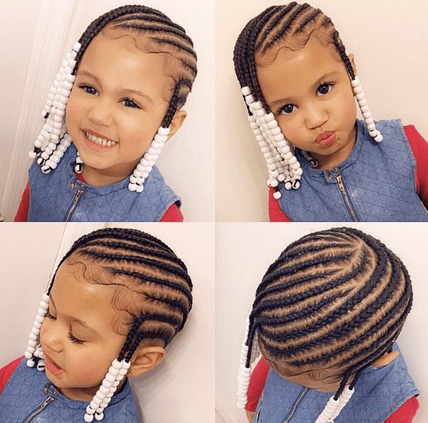 lemonade braids with white beads