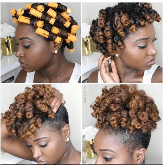 roller set afro puff