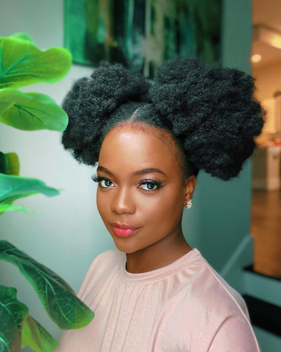 afro puff space buns