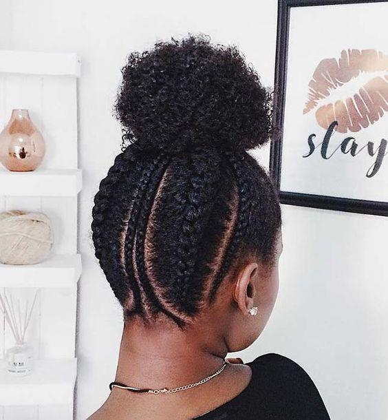 afro puff hairstyle with cornrows