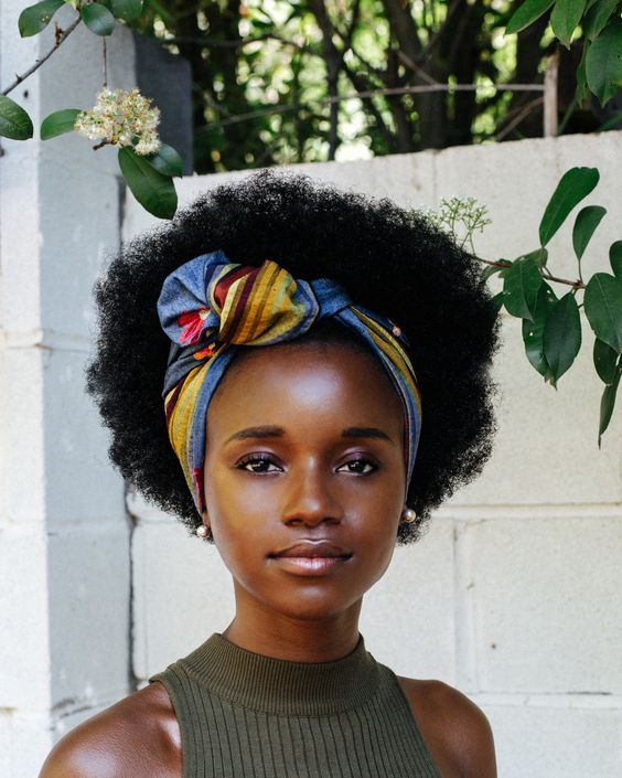 afro puff hairstyle with scarf