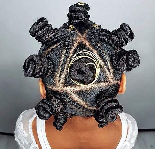 kids bantu knots with cornrows