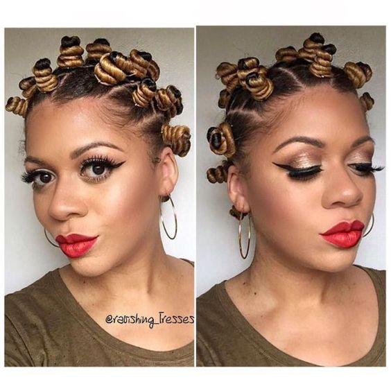 Bantu Knots on Transitioning Hair