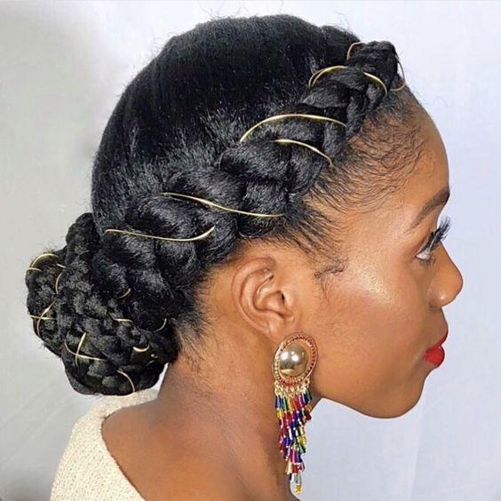 halo braid on natural hair