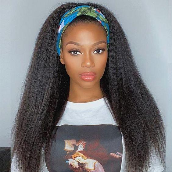 Kinky Straight Headband Wig for Black women