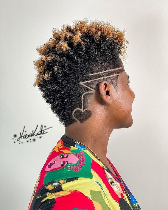 fade haircut with shaved sides on black women