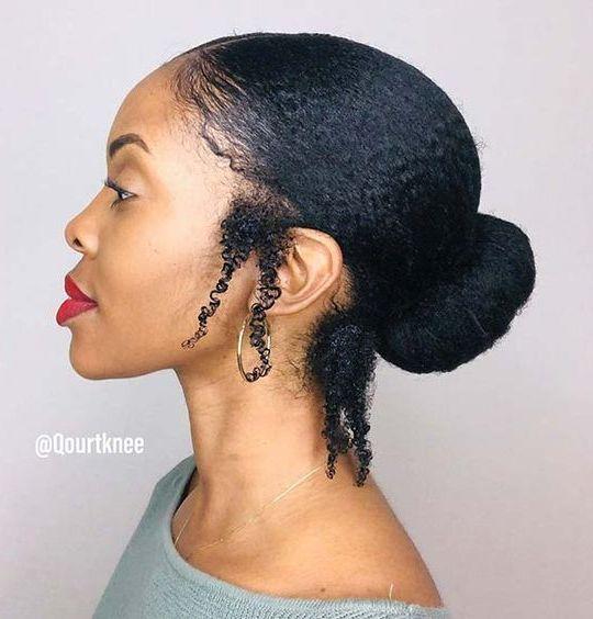 4c hair in a bun
