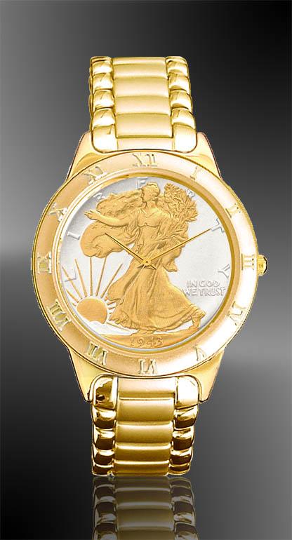 Walking Liberty Half Dollar Mens Bracelet Coin Watch R333 WL2 3