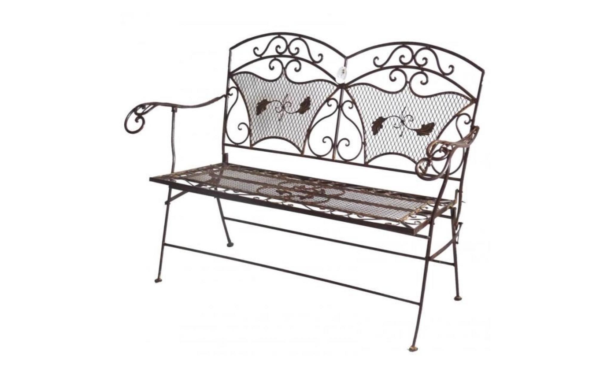 banc banquette fauteuil de jardin exterieur 2 personnes pliable en fer blanc 55x102x109cm achat vente fauteuil de jardin en teck pas cher coindujardin com