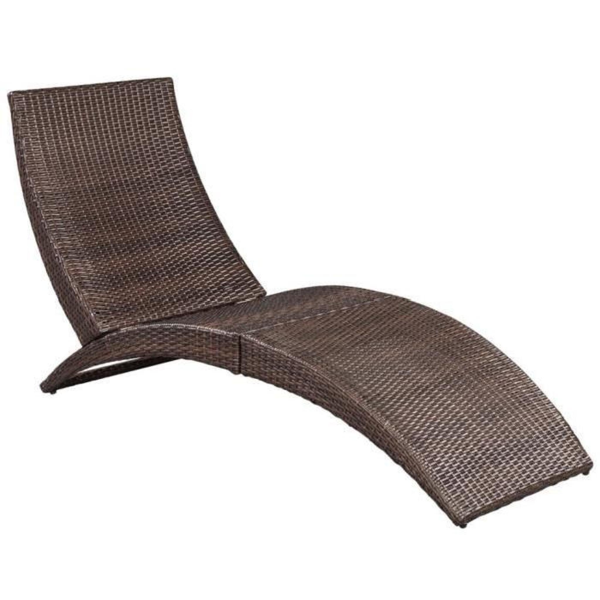 Chaise Longue Pliable Avec Coussin En Poly Rotin Marron