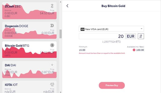 Buy Bitcoin Gold online using a credit card