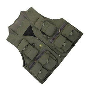 MagiDeal Hommes Gilet Multipoches Veste de Pêche Etanche Costume Chasse Camping Photographie – Armée Verte, L