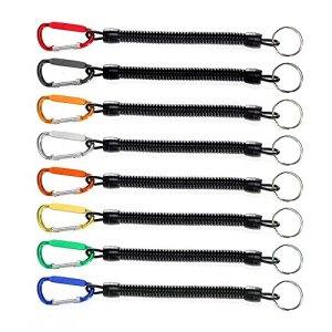8pcs cordons de pêche Multicolore de sécurité Corde pour bateau rétractable Fil spiralé Tether avec mousqueton Lip Grips Tackle Poisson outils