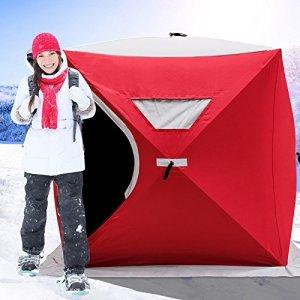 Chaneau 2/3/4/8 Personne Tente de Pêche Abri de Plage Tente de Bivouac de Pêche 300d Oxford Tissu Portable Résistant au Froid Tente de Camping Hiver Outdoor (228 * 228 * 203CM)
