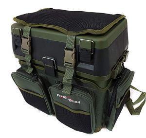 Fishingmad – Siège boîte de rangement pour matériel de pêche avec plateau latéral et option sac à dos, SeatBox and Backpack Carrier