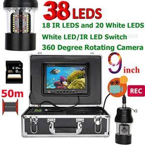 ZY 9 Pouces DVR enregistreur 50 m de pêche sous-Marine caméra vidéo Fish Finder IP68 étanche 38 LED caméra 360 degrés de Rotation