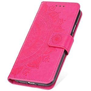 SainCat Coque pour Galaxy S4 Mini, Etui en Cuir avec Fleur Ultra Mince Portefeuille Emplacement pour Cartes + Fermeture Magnétique Bumper Antichoc Coque pour Samsung Galaxy S4 Mini-Rose Rouge