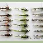 18goldhead Nymphe mouches de pêche truite. Olive, lièvres oreille, Faisan Tails, Mixte