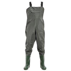 SurePromise Pantalon Cuissard avec Bottes Imperméable Pêche Pêcheur Travail Vasière Etang tissu tricot + PVC