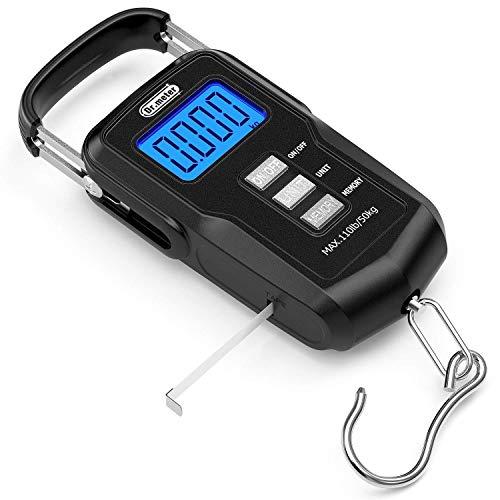 Dr.meter [Mis à Jour Échelle de pêche FS01, Balance numérique 110lb / 50kg avec écran LCD rétroéclairé, Ruban mesureur et 2 Piles AAA