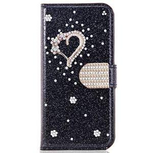 Miagon pour Huawei P20 Pro Portefeuille Coque,3D Glitter PU étui en Cuir Diamant Fermoir Magnétique Stand Strass Housse,Cœur Noir