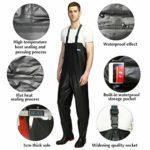 ENJOHOS Waders de pêche avec Ceinture pour Hommes et Femmes,imperméable Pantalon de Wader Waders de pêche Standard en PVC (EU 43)
