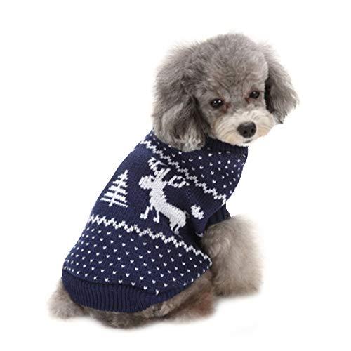 Pulls pour Chiens Pulls Imprimés élans de Noël Tricots d'hiver Vêtements de Noël Manteaux Chauds Classiques Pull Outwear